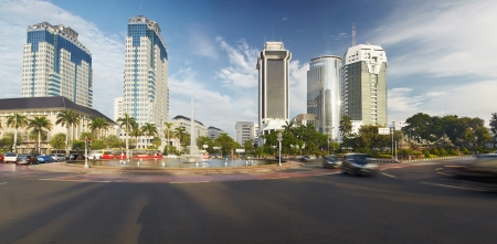 Centre capital city Indonesia Jakarta in morning liht with traffic motion  Panoramic picture photo