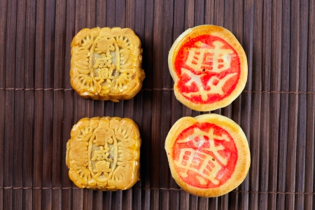 Close up chines traditional cookies on the wood mat photo