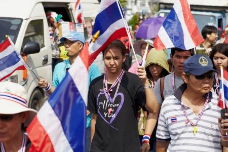 rd: Bangkok - Desember 09 Persone proteste anti-goverment su Ratchadaphisek Rd, Desember 9, 2013 a Bangkok, Thailandia