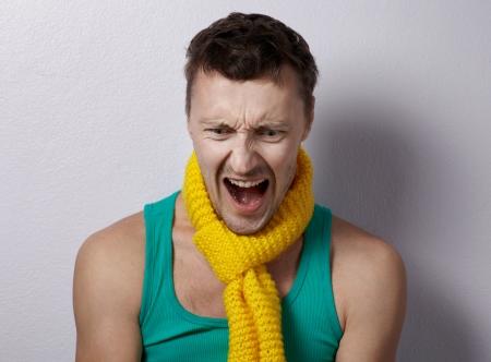 탱크 탑: Emotional headshot man in tank top and scarf 스톡 사진