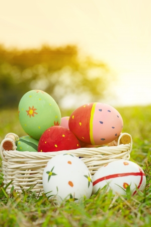 Close up easter painted eggs on the green meadow grass Stock Photo