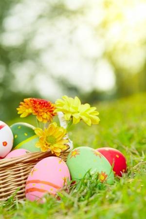 녹색 초원 잔디에 계란을 그린 부활절을 닫습니다