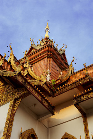 thailand culture: Close up ancient temple roof in Thailand culture