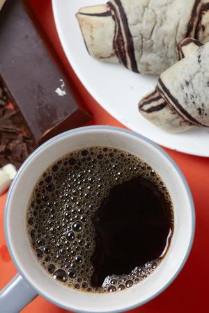 stilish: Stilish original rural black coffee with bekery and chocolate