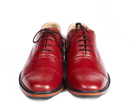 Couple men leather classic style shoes on white background