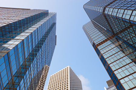 corporate buildings: City modern architecture in perspective, tall buildings with sky Stock Photo