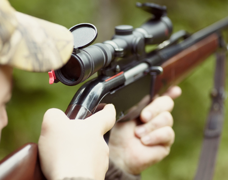 hunting rifle: Close up snipers carbine at the outdoor hunting
