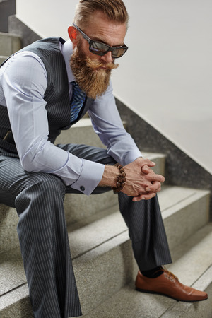 handsom: HAndsom beard man in hipster and classic suit style without in vest Stock Photo