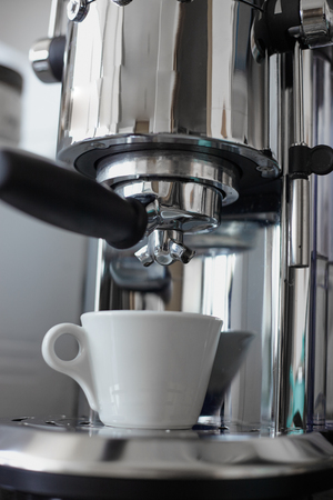 coffee maker machine: Close up stainless sttill italian style coffee maker machine Stock Photo