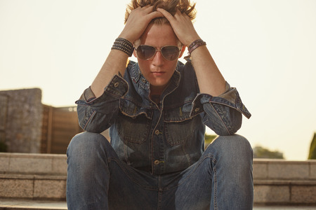 metrosexual: Male fashion shoot witth young models in denim style att the city