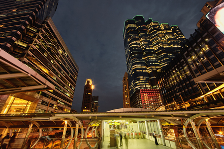 constraction: Evening cseene Bangkok Silom distrikt buildings with subway architecture constraction