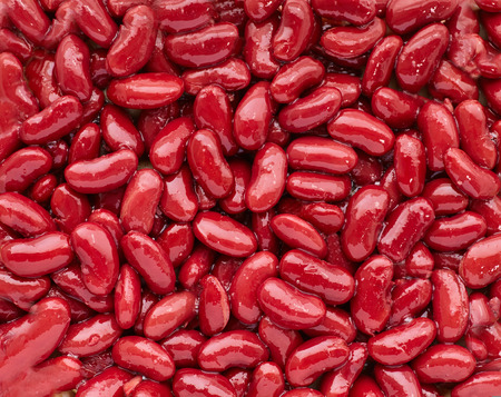 protien: Close up textured red baked haricot beans Stock Photo