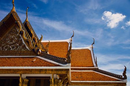 Thailand, Bangkok temple roof against blue sky, Royal Pavilion Mahajetsadabadin