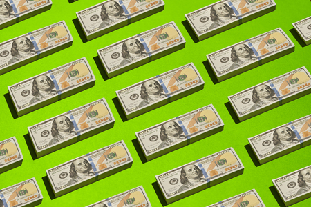 US dollar banknote in stack placed for colorfull background for conceptual design Reklamní fotografie
