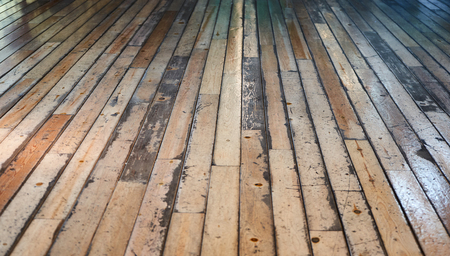 Wooden aged floor board in perspective view