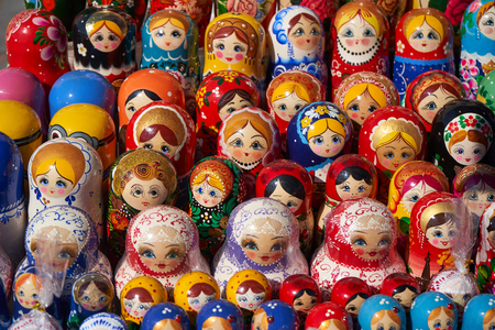 Russian nesting doll matrreshka placed for sell at the market place