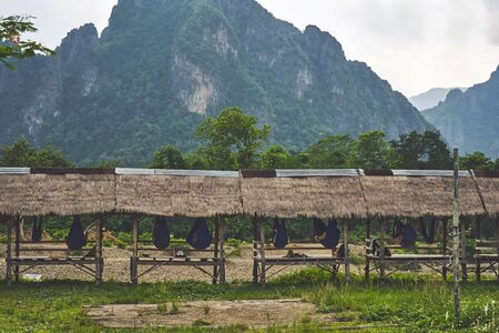 View at the old style tropical resort with relaxing tourists at the Laos Van Vieng 版權商用圖片 - 128225358