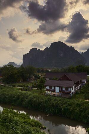 Panoramic view to the mountain area at Van Vieng Laos