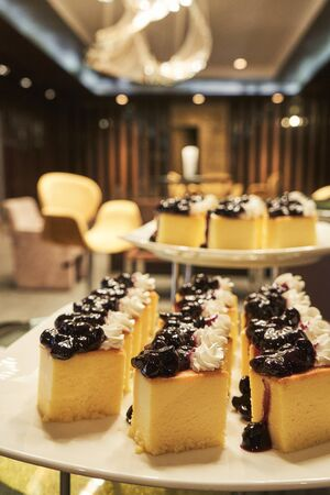 Close up chees cake on the plate at the event hall for conference people 版權商用圖片 - 128572457