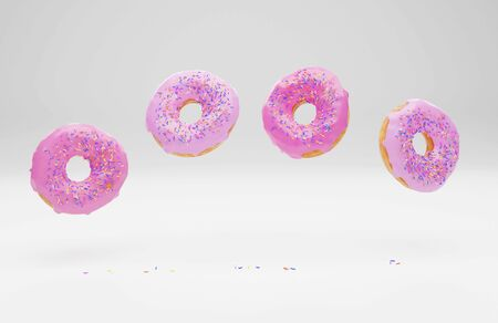 3D generated image with donuts and icing and sprinkles on the white background 写真素材