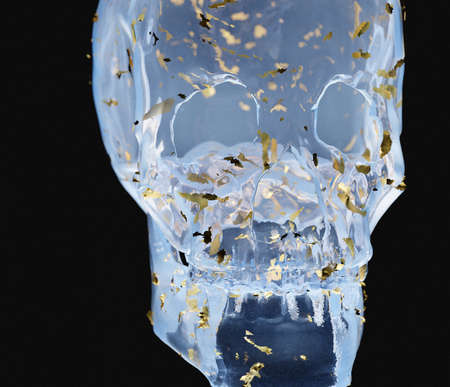 3d rendering crystal glass skull with shyning gold particle under blue light in dark