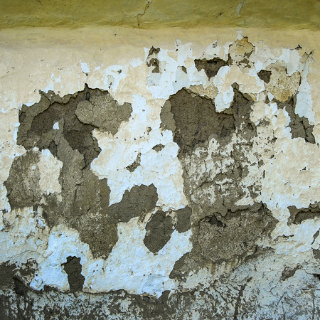 run down: wall of the old house in Dobrica, Banat