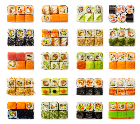 sushi restaurant: Seafood set - isolated rolls on white background