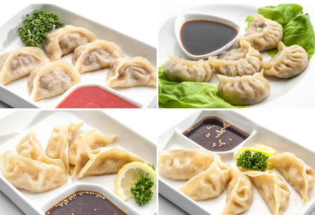 bred: Set of different meat dumplings - Chinese food Stock Photo