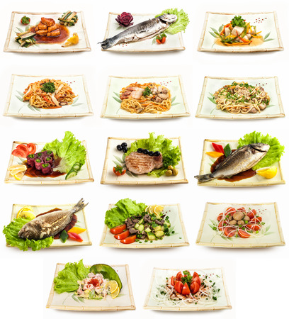 Set of different tasty dishes with fish, pasta, vegetables photo