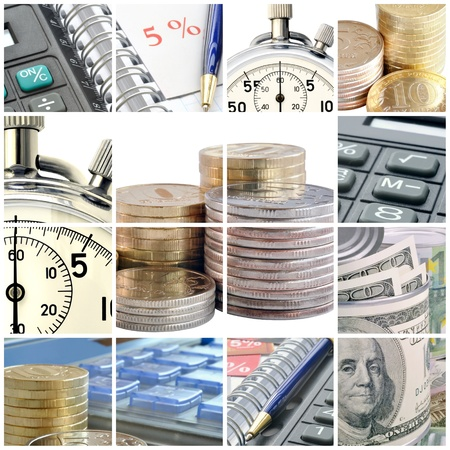 A collage of photos on the subject of business, time and money Stock Photo - 9138964