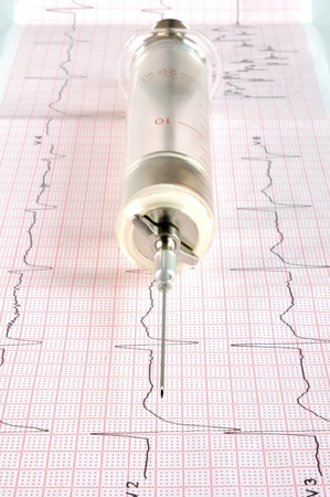 Old glass syringe on the cardiogram tape Stock Photo