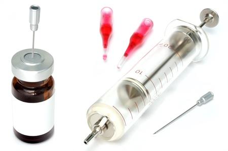 Old glass syringe against white background