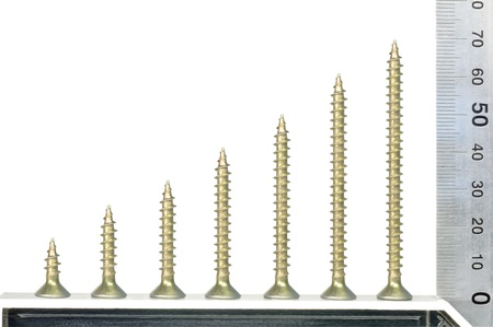 Screws and metal set square against white background Stock Photo