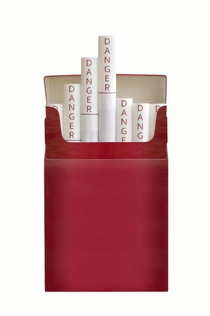 A pack of filtered cigarettes against white background