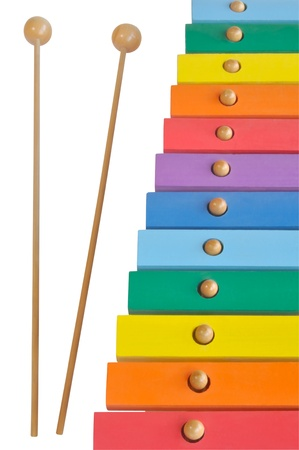 Rainbow colored wooden toy xylophone Stock Photo