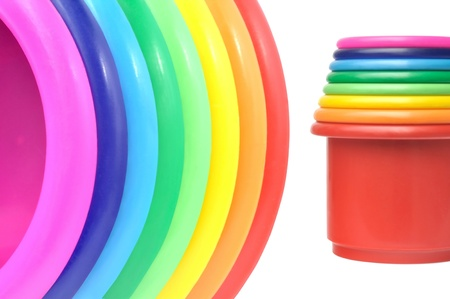 Colored flower pots against white background
