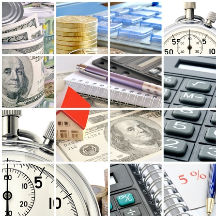 A collage of photos on the subject of business, time and money Stock Photo - 10848325
