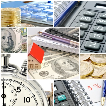A collage of photos on the subject of business, time and money