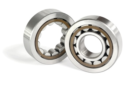 Two roller bearings on a white background