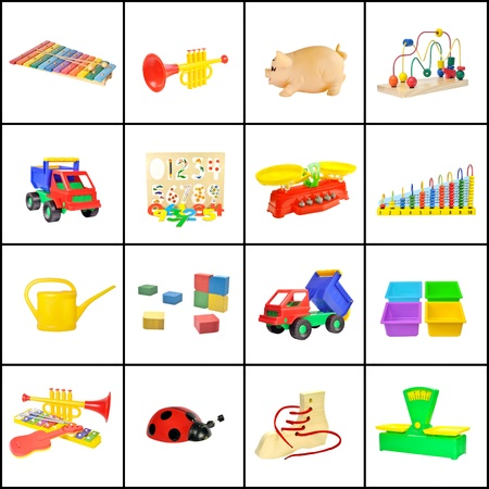 A collage of childrens toys on a white background Stock Photo