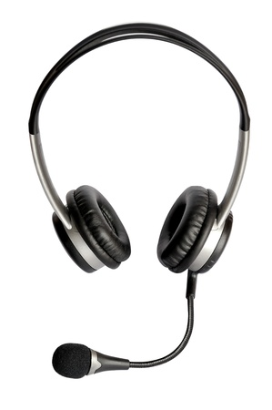 Closeup image of the headphones with microphone isolated on white background photo