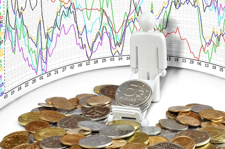 A man with a cart and coins against exchange rate chart Stock Photo