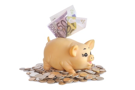 Piggybank with notes on a pile of coins on white background Stock Photo - 15256613
