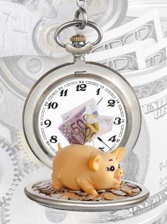 A collage of photos on the subject of time and money Stock Photo - 15477218