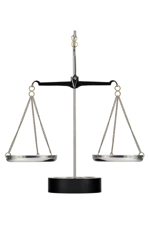 Laboratory scales on a tripod on a white background