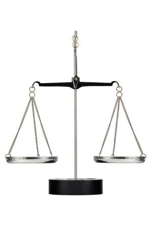 laboratory balance: Scale di laboratorio su un cavalletto su uno sfondo bianco