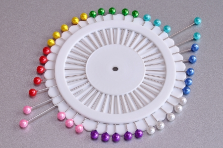 Set of pins with plastic heads in different colors