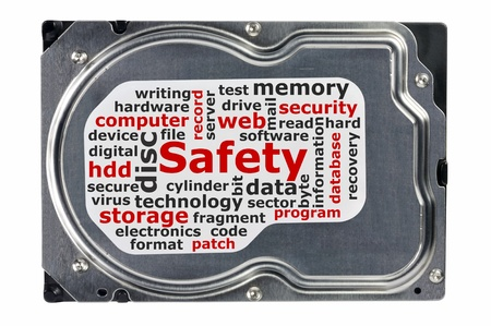 Close-up of a hard disk on a white background, data saving concept  Stock Photo
