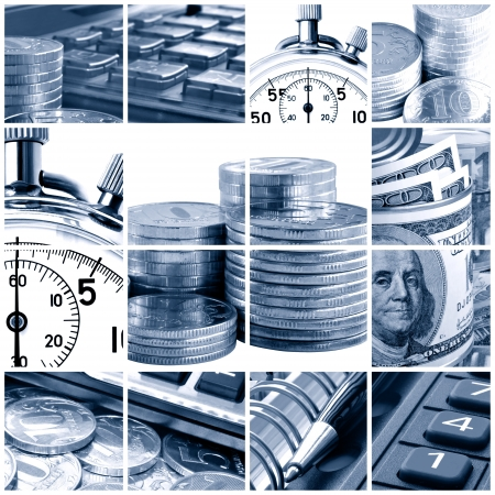 A collage of photos on the subject of business, time and money  Blue tone