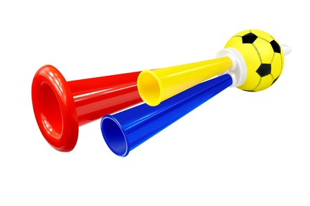Colorful whistle soccer fan on white background
